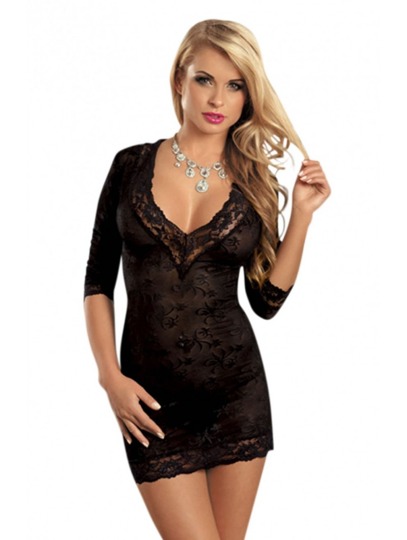 Floral black lace chemise with a V neck