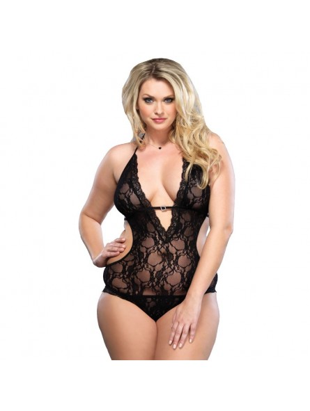 Lace Deep V Halter Teddy UK 16 to 18