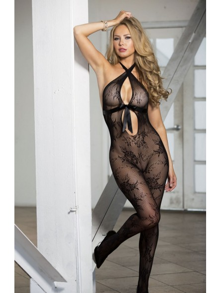 STRETCH LACE OPEN FRONT BODYSTOCKING