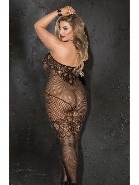 PLUS SIZE FISHNET OPEN FRONT BODY STOCKING