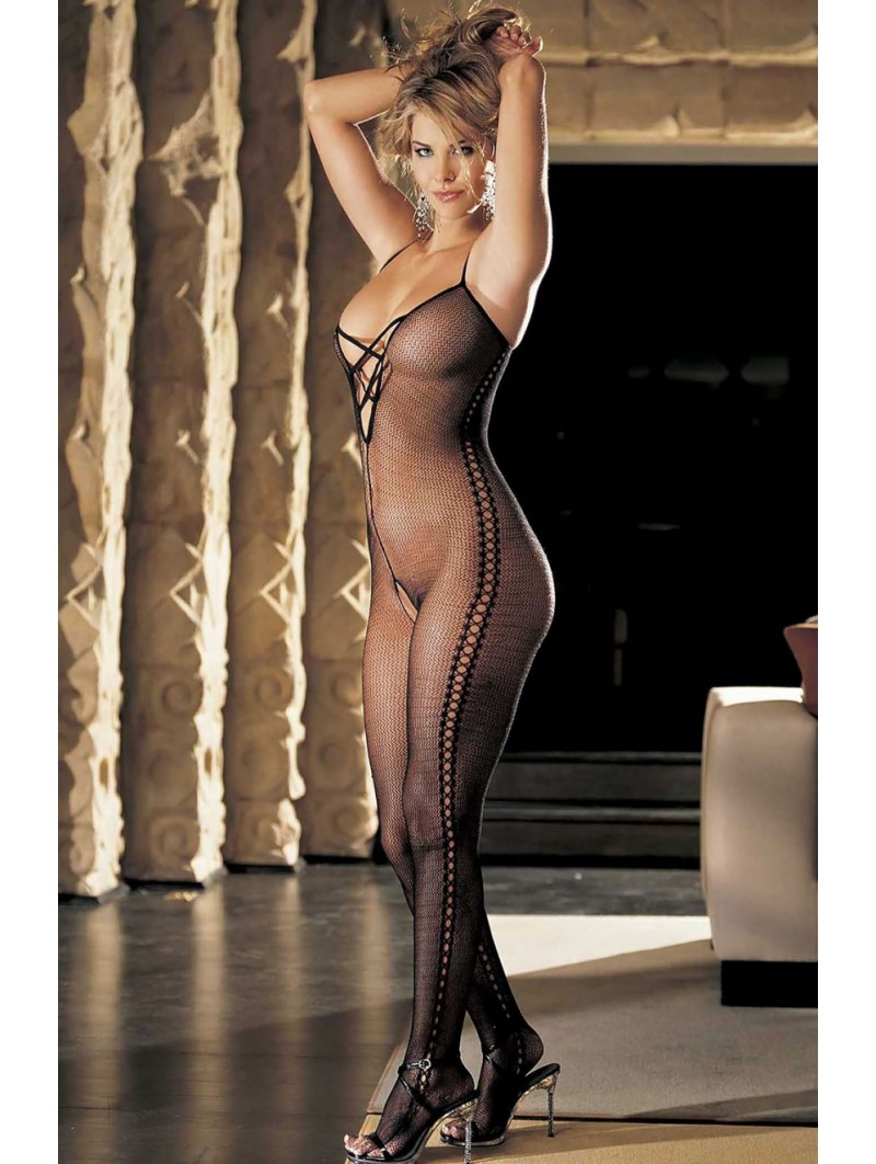 Stretch fishnet body stocking