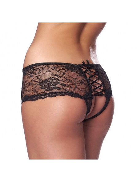Spicy Open Back Black Crotch less Briefs