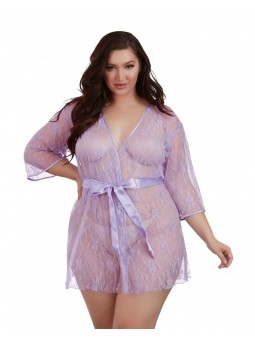 Lace Kimono 3/4 Sleeves with Satin Inset Belt