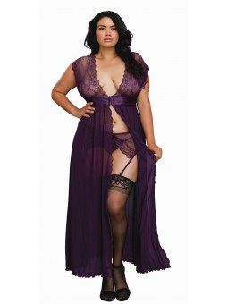 Plus Size 3 Piece Set: Lace Gown, Garter Belt and G-String