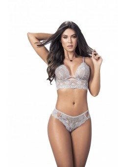 Light Grey Two Piece Scalloped lace and cutouts