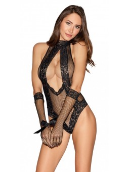 Fishnet And Lace Collared Teddy And Gloves