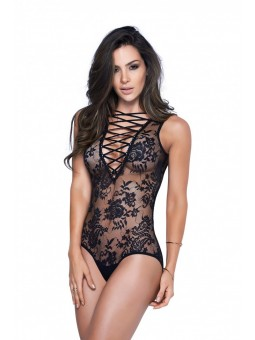 Black Plunging Lace-Up Teddy