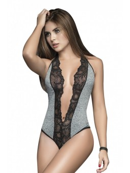 Black/Grey Lace Plunge Bodysuit