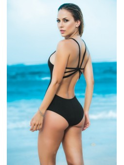 Black Low Neckline One Piece Swimsuit