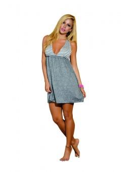 Grey Striped Beach Dress