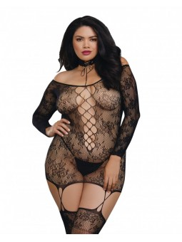 Women's Plus Size Lace Patterned Knit Garter Dress with