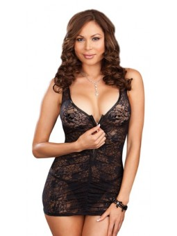 Plus Size Chemise and Thong Black