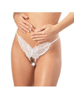 Sequined White Butterfly G-String Crotchless