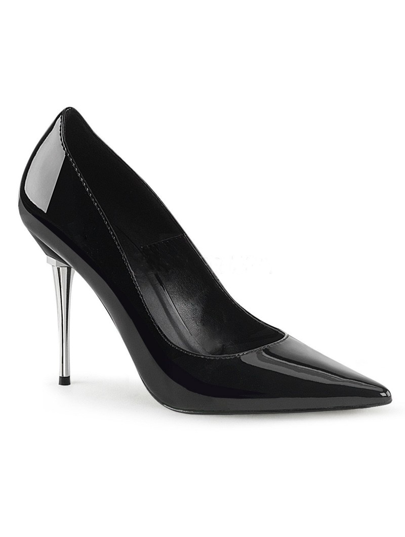 "Sexy Black Shoe with Metal 4"" Stiletto Heal"