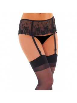 Black Floral Suspender belt And Stockings