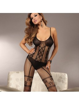 Fishnet bodystocking with bra & suspender pants effect size 8-12