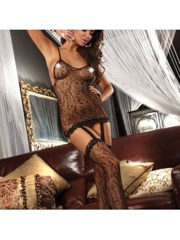 Olive Leaf Pattern Body Stocking UK Size 8 to 12