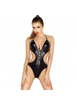 Black wet look body with lace up front and open back