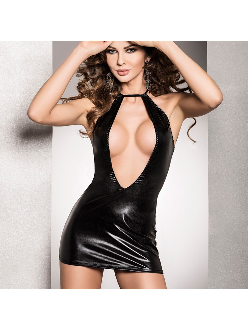 Black wet look open front mini dress