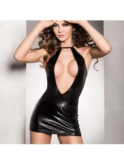 Black wet look open front mini dress