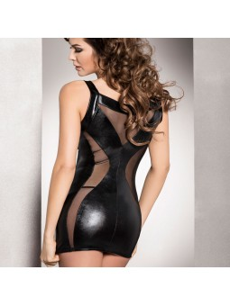 Wet look chemise with a crisscross tie up front