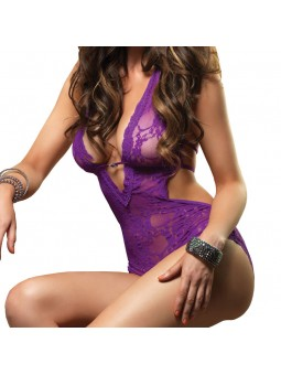 Stretchy lace deep v halter teddy