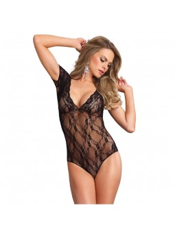 Floral Lace Backless Deep-V Teddy Black UK 8 to 14