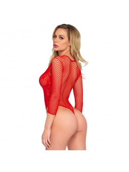 High Cut Deep V Lace And Net Thong Back Teddy