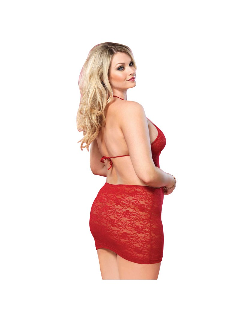 Open Back Lace Mini Dress Red UK 16 to 18