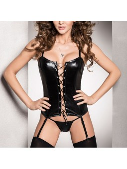Wet look Corset, tie up front and matching string.