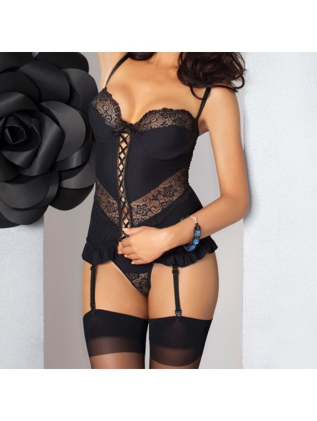 Black front lacing corset with floral black lace detailing