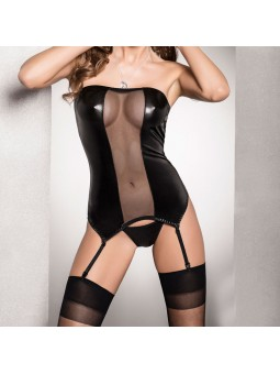 Black wet look corset with a black mesh panel