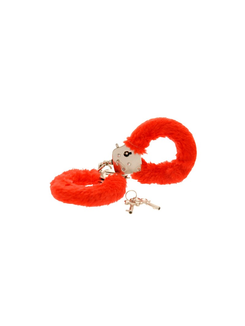 Furry Fun Hand Cuffs Red Plush