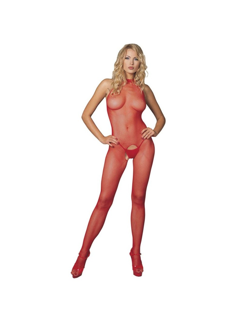 Red Seamless High Neck Halter Bodystocking UK 8 to 14