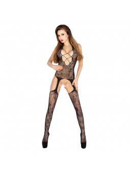 Open Crotch Criss Cross Front Body Stocking Black