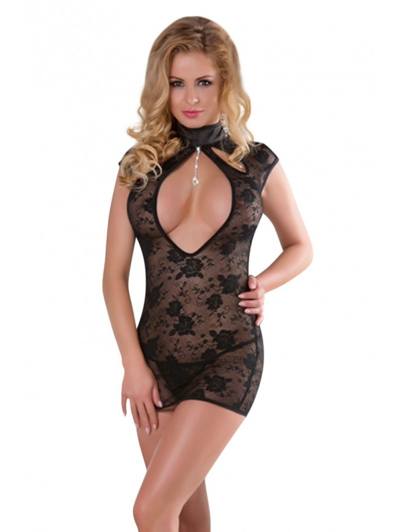 Sultry lace keyhole baby doll dress